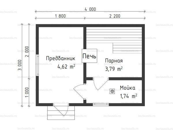 Планировка одноэтажной бани 3х4