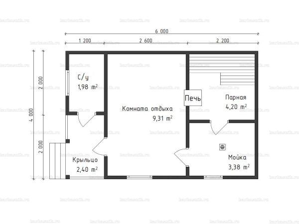 Планировка одноэтажной бани 4х6