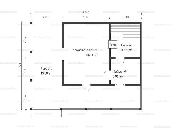 Планировка одноэтажной бани 5.5х7