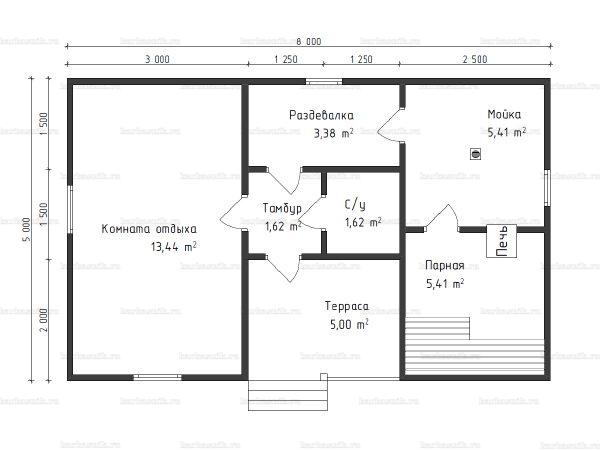 Планировка одноэтажной бани 5х8