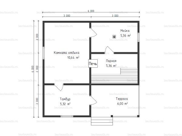 Планировка одноэтажной бани 6х6