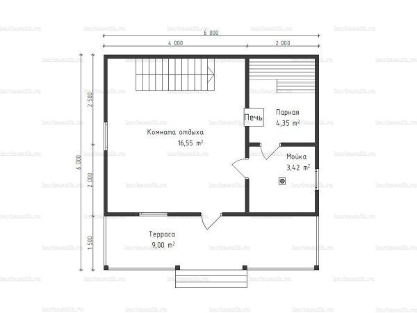 Планировка бани с мансардой 6х6