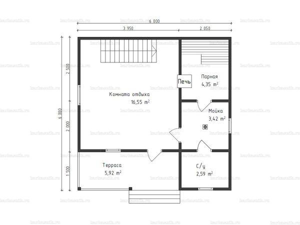 Схема планировки бани 6х6 из бруса в СНТ Рябинки