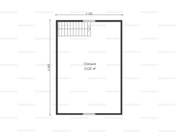 Схема планировки бани 6х6 из бруса в СНТ Рябинки (второй этаж)