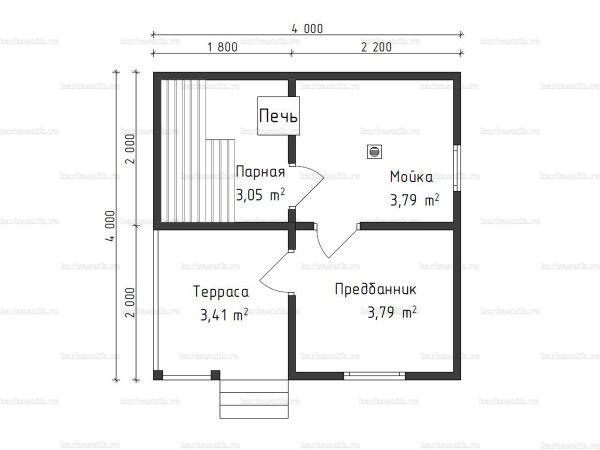 Планировка одноэтажной бани 4х4