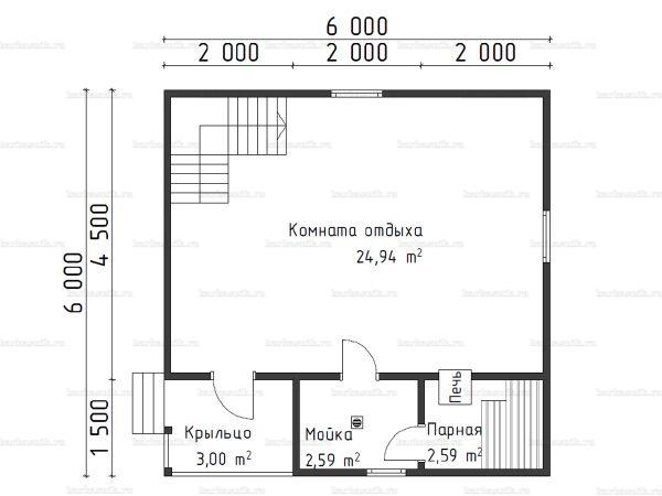 Планировка двухэтажной бани 6х6