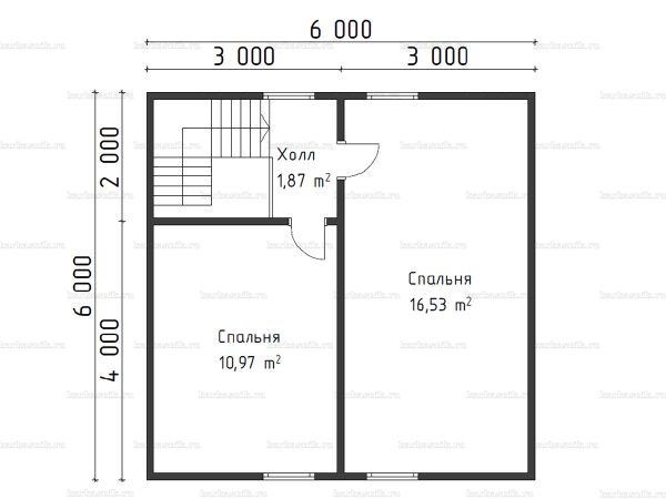 План второго этажа двухэтажной бани 6х6