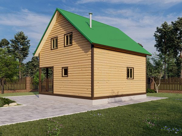 Двухэтажная баня 6х6 из бруса