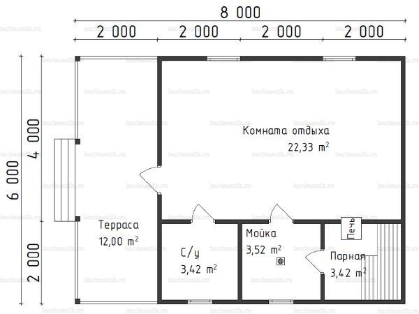 Планировка одноэтажной бани 6х8