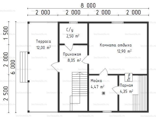 Планировка бани с мансардой 6х8