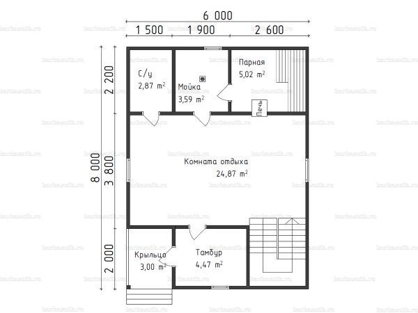 Планировка двухэтажной бани 6х8