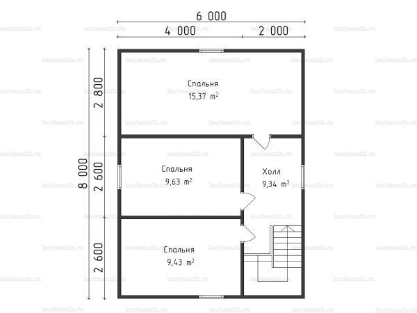 План второго этажа двухэтажной бани 6х8