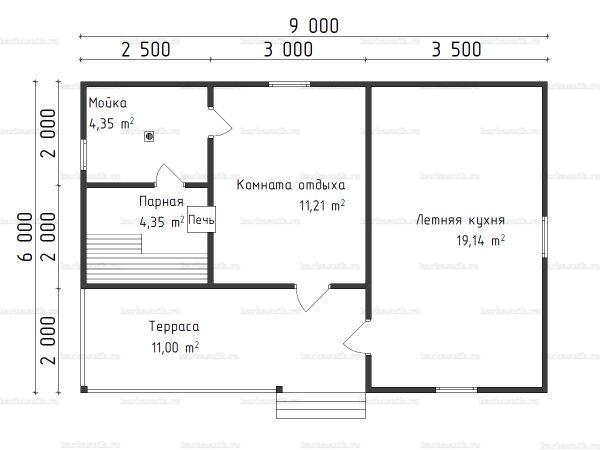 Планировка одноэтажной бани 6х9