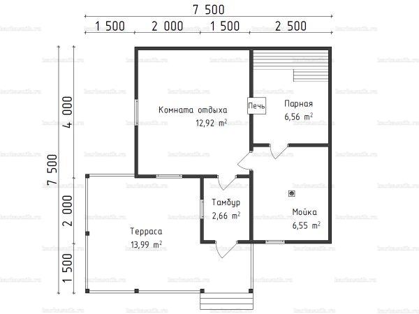 Планировка одноэтажной бани 7.5х7.5