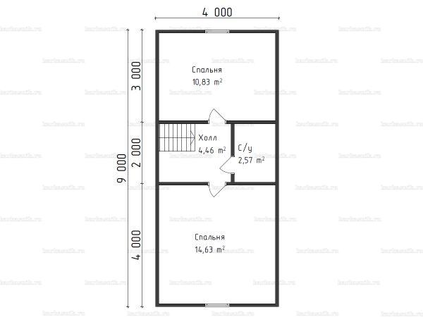 План второго этажа бани с мансардой 6х9