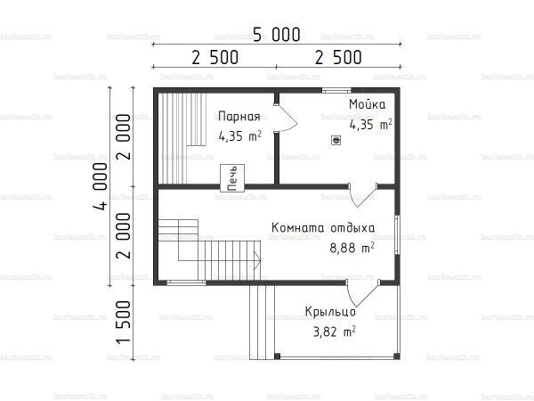 Планировка бани с мансардой 4х5