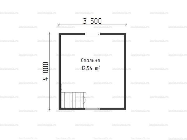 План второго этажа бани с мансардой 4х5