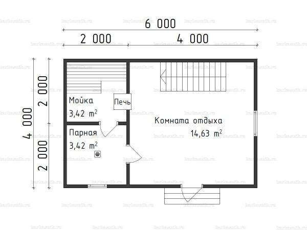 Планировка бани с мансардой 4х6