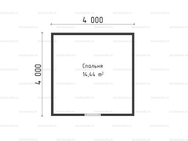 План второго этажа бани с мансардой 4х6