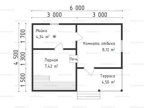 Планировка одноэтажной бани 4.5х6