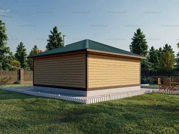 Баня 6х6 с террасой и вальмовой крышей фото 3