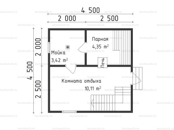 Планировка бани с мансардой 4.5х4.5