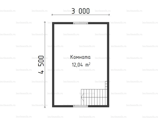 План второго этажа бани с мансардой 4.5х4.5