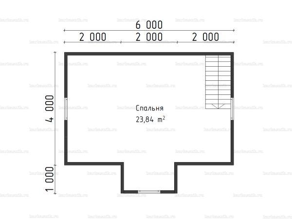 План второго этажа бани с мансардой 6х6