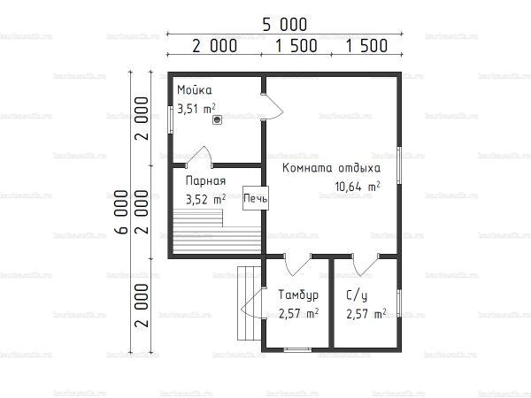 Планировка одноэтажной бани 5х6