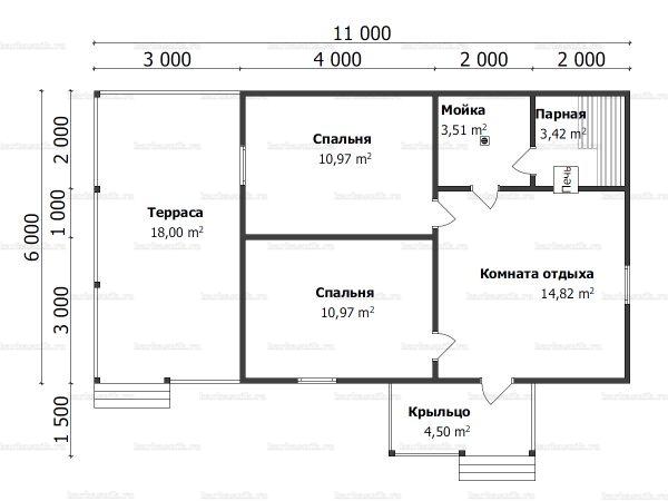 Планировка одноэтажной бани 6х11