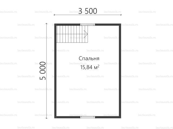 План второго этажа бани с мансардой 5х6