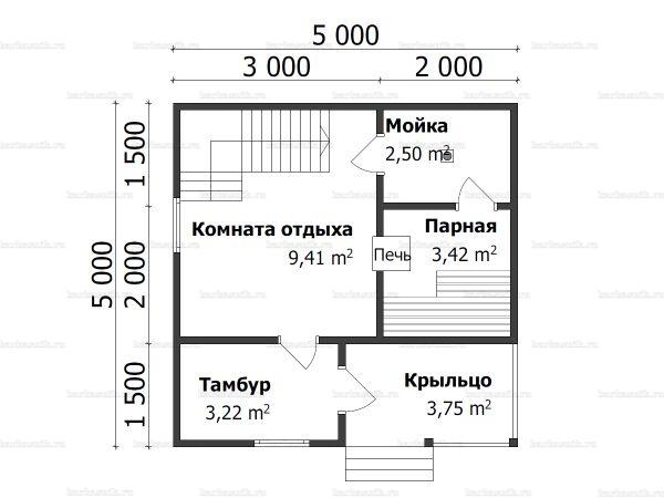 Схема планировки брусовой бани 5х5 в деревне Соснино