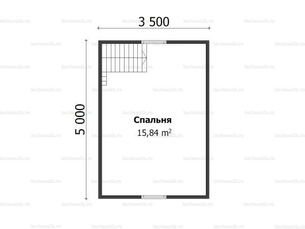 Схема планировки брусовой бани 5х5 в деревне Соснино (второй этаж)