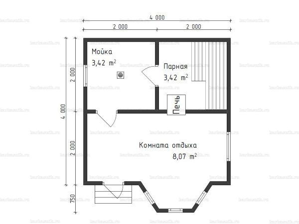 Планировка одноэтажной бани 4х5