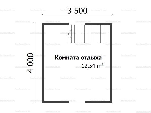 План второго этажа бани с мансардой 5х4