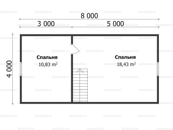 План второго этажа бани с мансардой 6х8