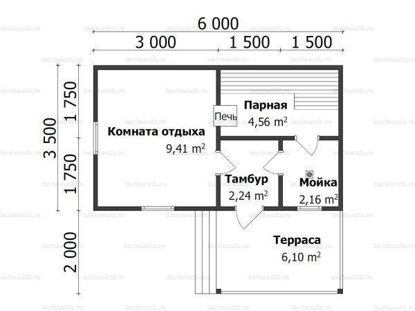 Планировка одноэтажной бани 3.5х6