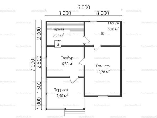 Планировка одноэтажной бани 6х7