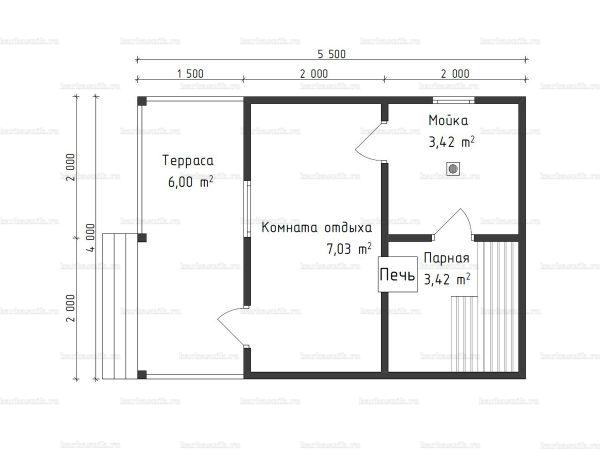 Планировка одноэтажной бани 4х5.5