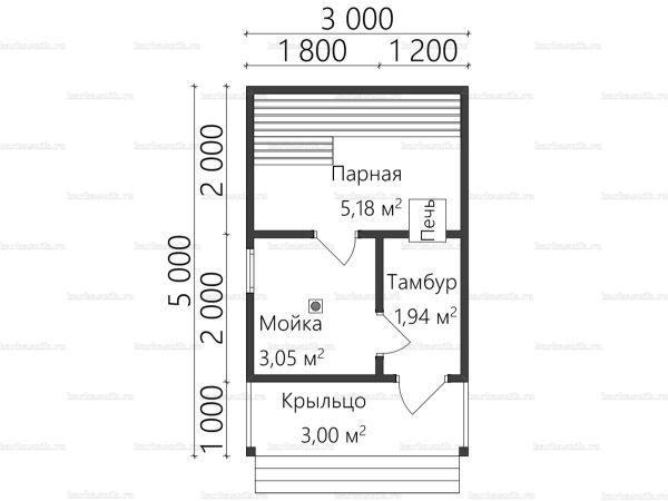 Планировка одноэтажной бани 3х5