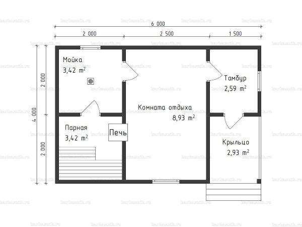 Схема планировки бани из бруса 4х6 в Ярославле