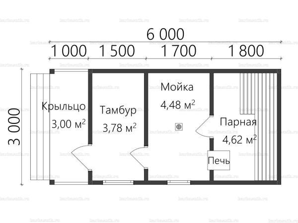 Планировка одноэтажной бани 3х6