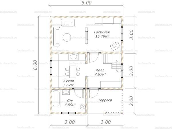 Схема планировки дома из бруса 6х8 в городе Голицыно