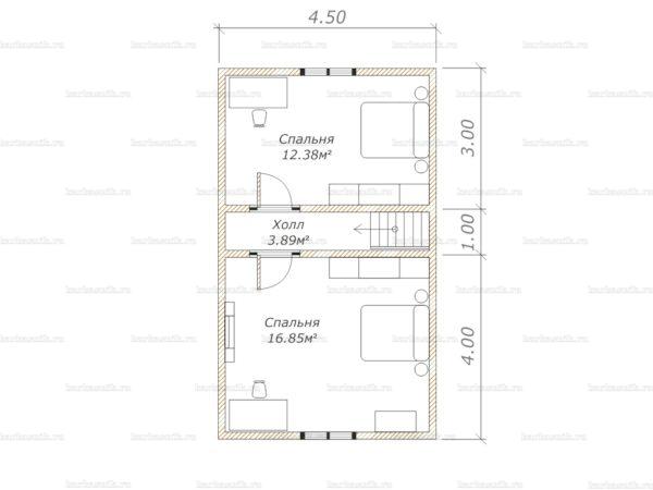 Схема планировки дома из бруса 6х8 в городе Голицыно (второй этаж)