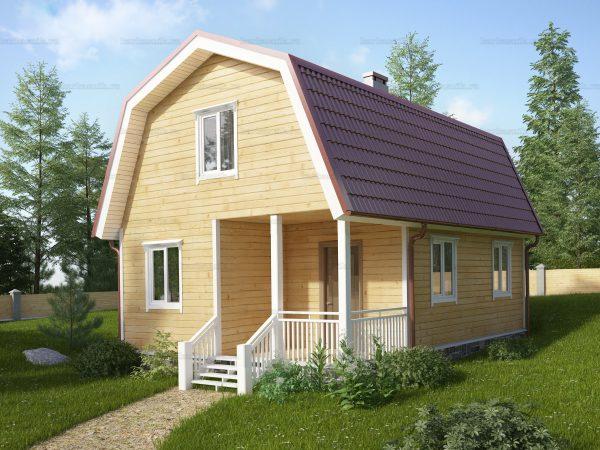 3D-проект дома из бруса 6х8