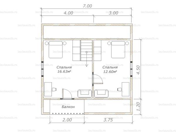 План второго этажа дома с мансардой 7х7