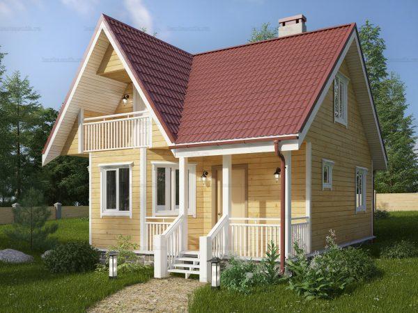 Дом из бруса с мансардой 7x7