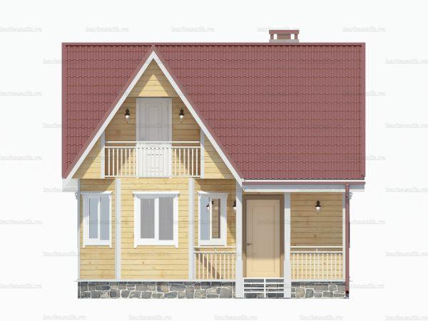 Проект деревянного коттеджа 7х7 из бруса для постоянного проживания зимой