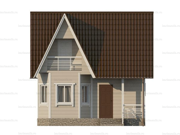 Проект каркасного зимнего дома 7х7 для строительства под ключ