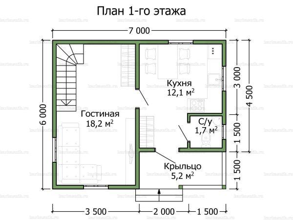 Планировка дома с мансардой 7х6